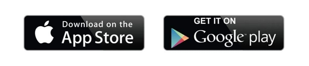 apple app store and google play icons