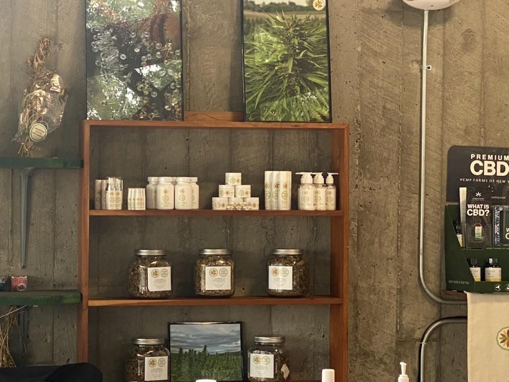 storefront shelving of CBD products